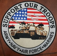 "Support Our Troops Army Navy Air Force Marines 12"" Embroidered Patch, New - $24.95"