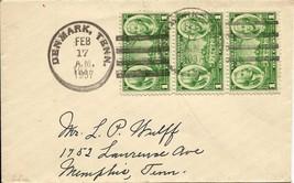 US 1937 Scott# 785 on cover Denmark,n Tenn - $1.40
