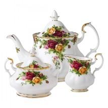 ROYAL ALBERT OLD COUNTRY ROSES TEA POT, CREAMER, SUGAR & COMPLETER SET NIB - $186.99