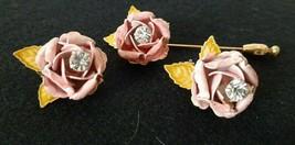 Vintage Robert Enamel Pink Rose Rhinestone Earring Stick Pin Set - $13.50