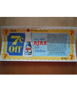 Vintage Ajax For Dishes 7c Off Store Coupon 1975 - $2.99