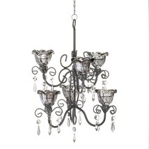 Chandeliers Candle Holder, Midnight Black Hanging Metal Chandelier For C... - £29.74 GBP