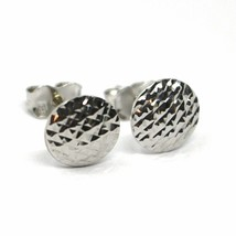 18K WHITE GOLD BUTTON EARRINGS, DIAMOND CUT WORKED DISCS, 8mm DIAMATER image 2