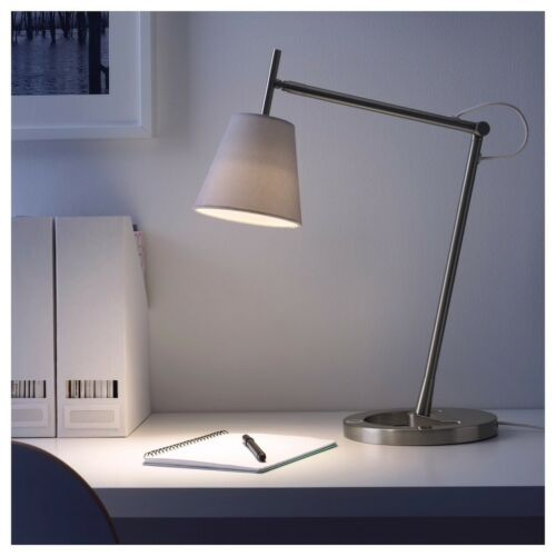 IKEA NYFORS Work lamp, nickel plated white/ touch dimmer With USB Port