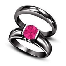 Black Gold Over 925 Sterling Silver 1ct Pink Sapphire Solitaire Bridal Set Ring - $85.85