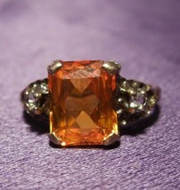 Vintage Cushion Cut Orange Sapphire 10k Yellow Gold Ring - $346.50