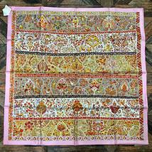 Hermes Scarf Au Pays des Oiseaux Fleurs 90 cm Silk Pink Carre Shawl Stol... - $523.71