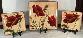Certified International Poppies 1 Square Platter and 2 Salad Plates - $98.95
