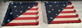 2 Patriotic Flag Star 10X10 Fourth Of July Plates - $24.70