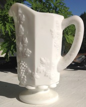 "Pitcher Vintage Westmoreland Milk Glass 8"" Tall Paneled Grape 24oz - $28.66"