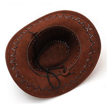 Coffee Cowboy Hat Suede Look Wild West Fancy Dress Men Ladies Cowgirl Un... - $9.74