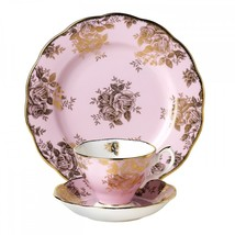 NEW 1960 Golden Roses TEA CUP, SAUCER, LUNCH PLATE 100 Years by Royal Al... - $74.79