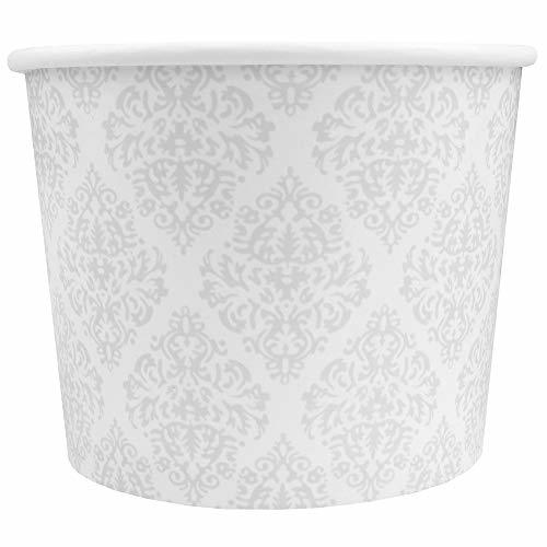 Elegant Silver Paper Dessert Cups - 12 oz Holiday Ice Cream Bowls - Silver Paper