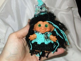 VINTAGE TROLL 3 in Aqua Witch Hat Dess Outfit doll Halloween scandia house - $37.61