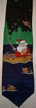 Mens Hallmark Fishing Santa Christmas Tie Neck Holiday Whimsical Gag - $14.95