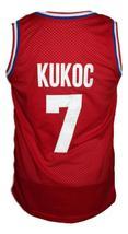 Toni Kukoc #7 Croatia Yugoslavia Custom Basketball Jersey New Sewn Red Any Size image 2