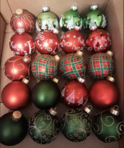 Decorative Glass Christmas Ornaments Red Green Plaid Shiny 20 Ornament L... - $13.86