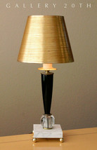 ATOMIC! MID CENTURY MODERN ROCKET TABLE LAMP! 50'S GOLD FOIL SHADE! SPAC... - $550.00
