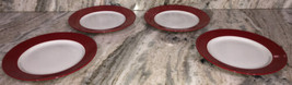 "Royal Norfolk 10 1/2"" Dinner Evening Formal Plate Set Of 4 Red/White-NEW... - $58.68"