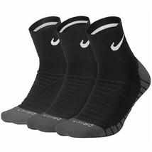 NIKE DRY CUSHION QUARTER DRI-FIT TRAINING SOCKS 3 PACK Black. - $22.00