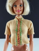 Barbie Vintage Embroidered Top Dusty Peach Clone 1960s Clothing - $11.87
