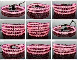 Handmade Natural Rose Quartz Gemstone Beads Wrap Leather Bracelet Healing Reiki - $3.15+
