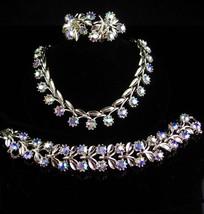 LIsner Parure - vintage necklace - ab Bracelet - clip on earrings - unsigned blu - $145.00