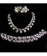 LIsner Parure - vintage necklace - ab Bracelet - clip on earrings - unsi... - $145.00