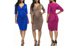 Women's Plus Size Deep V Neck Wrap Ruched Waisted Bodycon Dress - $29.99