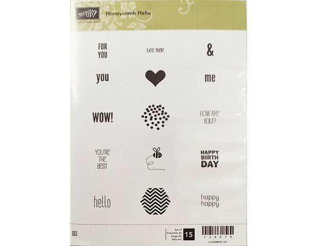 Stampin' Up! Honeycomb Hello Rubber Cling Stamp Set #134078