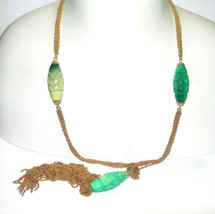 Large Vintage Trifari Chinese Oriental Carved Green Lucite Sautoir Necklace - $150.00