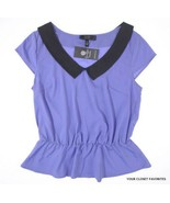 New JESSICA SIMPSON size Small Collared Peplum Blouse Top Summer - $21.95