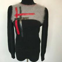 Vintage Mike Korwin Sweater size M Black Wool Red Snakeskin Trim Gray An... - $57.95