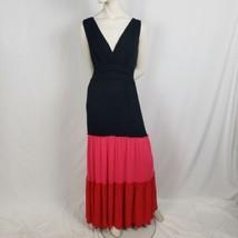 Sangria Boho Maxi Colorblock Dress Black Red Pink Deep Neckline Shirred Waist - $35.63