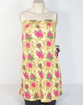Baby Phat Bandeau Terry Dress Swim Cover Yellow Pink Floral Design Womans NWT - $37.49