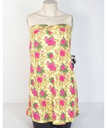Baby Phat Bandeau Terry Dress Swim Cover Yellow Pink Floral Design Woman... - $37.49