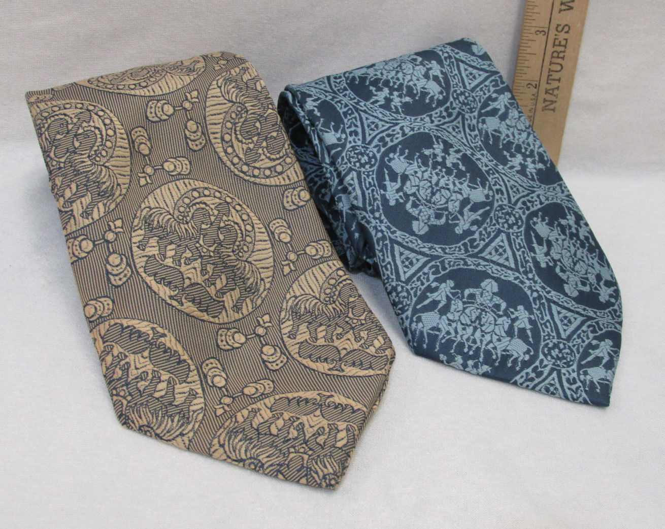 Primary image for 2 Vintage Mens Neck Ties No Name Brand Dacron Polyester Blue & Gold