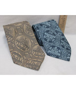2 Vintage Mens Neck Ties No Name Brand Dacron Polyester Blue & Gold - $14.84