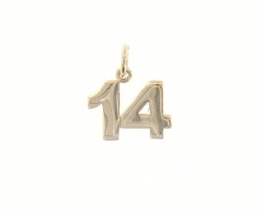 18K YELLOW GOLD NUMBER 14 FOURTEEN PENDANT CHARM, 0.7 INCHES 17 MM MADE IN ITALY
