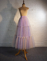 Rainbow Color Long Tulle Skirt Tiered Tutu Skirt Outfit Plus Size Layered Skirt  image 7