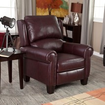 Leather Chair Recliner Push-Back Style Living Room Furniture Burgundy  - $659.49