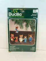 Vintage Bucilla Bear Family Christmas Heirloom Sewing Stitchery Ornament... - $29.99