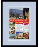 1964 New Mexico Travel Tourism Framed 11x14 ORIGINAL Vintage Advertisement  - $41.71