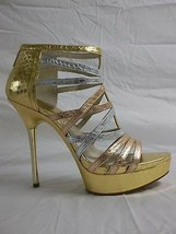 Michael Kors 10 M Maddie ST13H Gold Leather Open Toe Platforms New Womens Shoes - $117.81