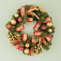 Evergreen Holiday Glitter Wreath with Red & Gold Ornaments, Holly, - $25.91