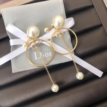 AUTH Christian Dior 2019 LIMITED ED HOOP DANGLE DROP CD LOGO PEARL EARRINGS