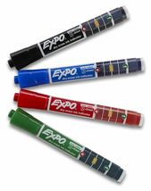 Expo Ink Indicator Dry Erase Markers, 4 Count Black, Blue, Red, Green Chisel Tip image 3