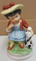 I) Davar Girl with Dog Figurine Country Home Decor Statue - $4.94