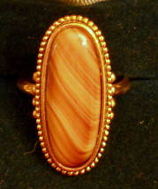 Avon Statement Ring Marble Caramel Setting size 8 Nickel Free Gold Plate... - $19.75