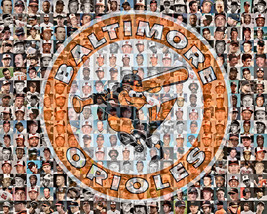 Baltimore Orioles Player Mosaic Print Art of over 100 Past and Present P... - $42.00+